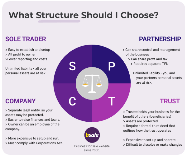 4 types of business structures infographic